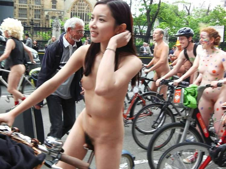 nude asian cyclist at the philly naked bike ride